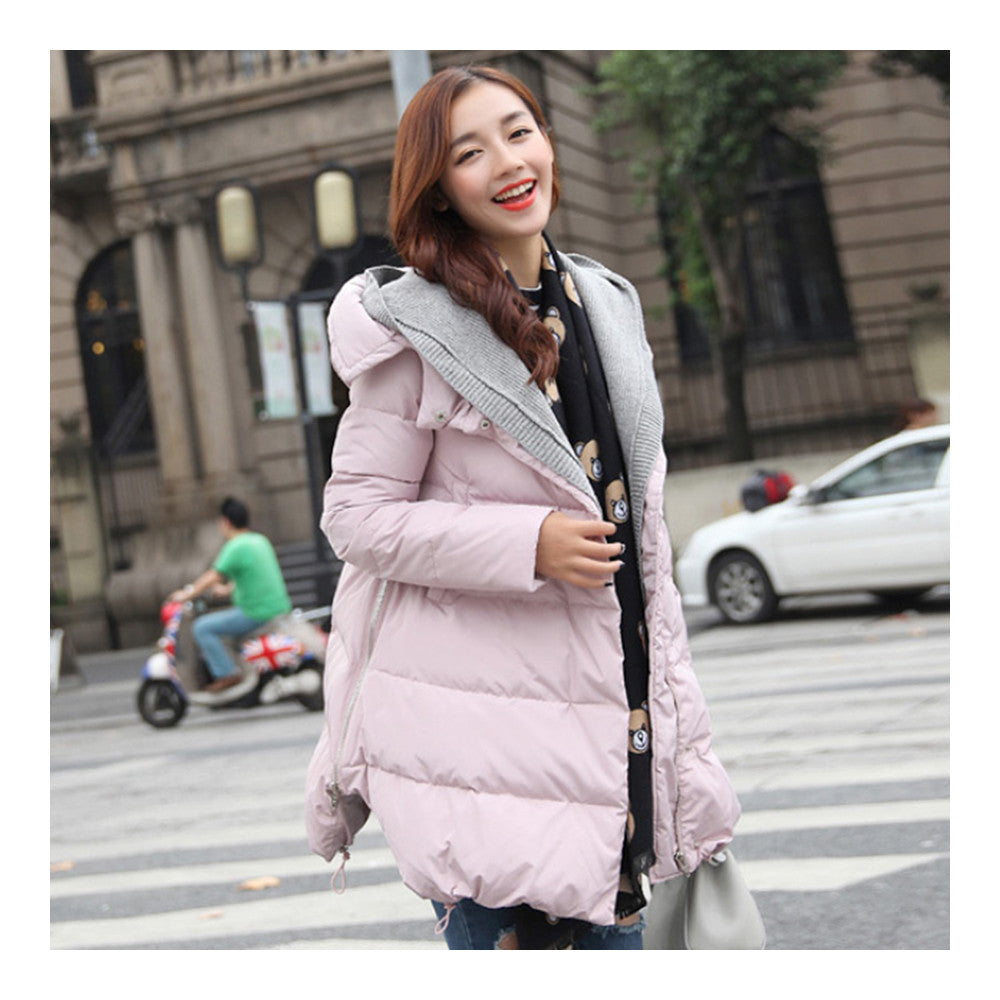 Woman A Shape Thick Hoodied Woolen Middle Long Down Coat    pink    S - Mega Save Wholesale & Retail - 1