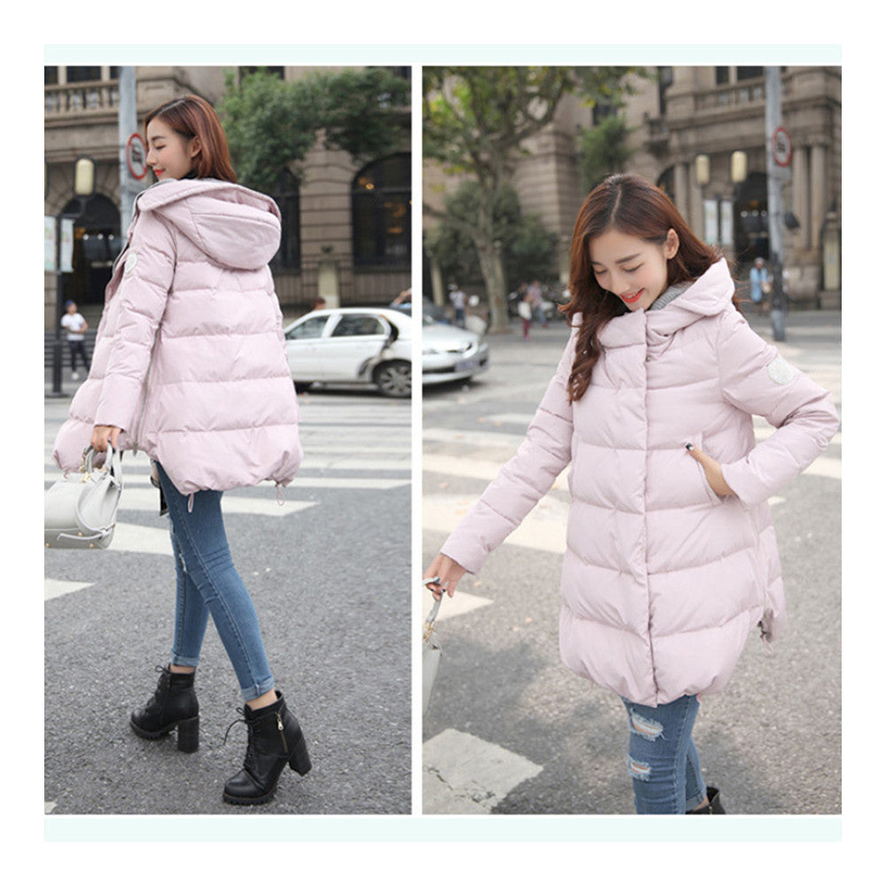 Woman A Shape Thick Hoodied Woolen Middle Long Down Coat    pink    S - Mega Save Wholesale & Retail - 2