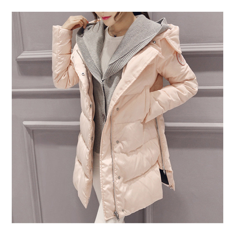 Woman A Shape Thick Hoodied Woolen Middle Long Down Coat    pink    S - Mega Save Wholesale & Retail - 3