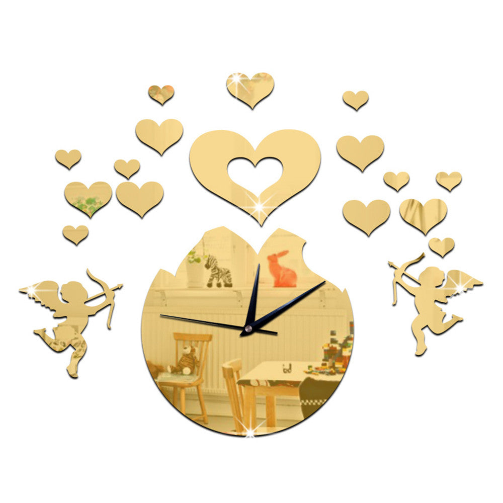 Love Heart Cupid Mirror Living Room 3D Decoration Wall Clock   golden - Mega Save Wholesale & Retail