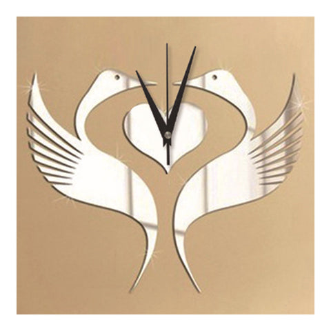 Mirror Wall Clock White Swan Wedding Room - Mega Save Wholesale & Retail