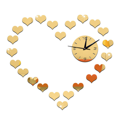 DIY Living Room Peach Heart Mirror Wall Clock    golden - Mega Save Wholesale & Retail