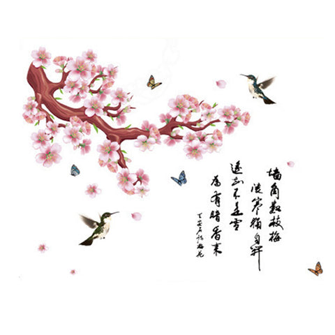 Chinese Style Wallpaper Wall Sticker Peach Flower Words - Mega Save Wholesale & Retail - 1