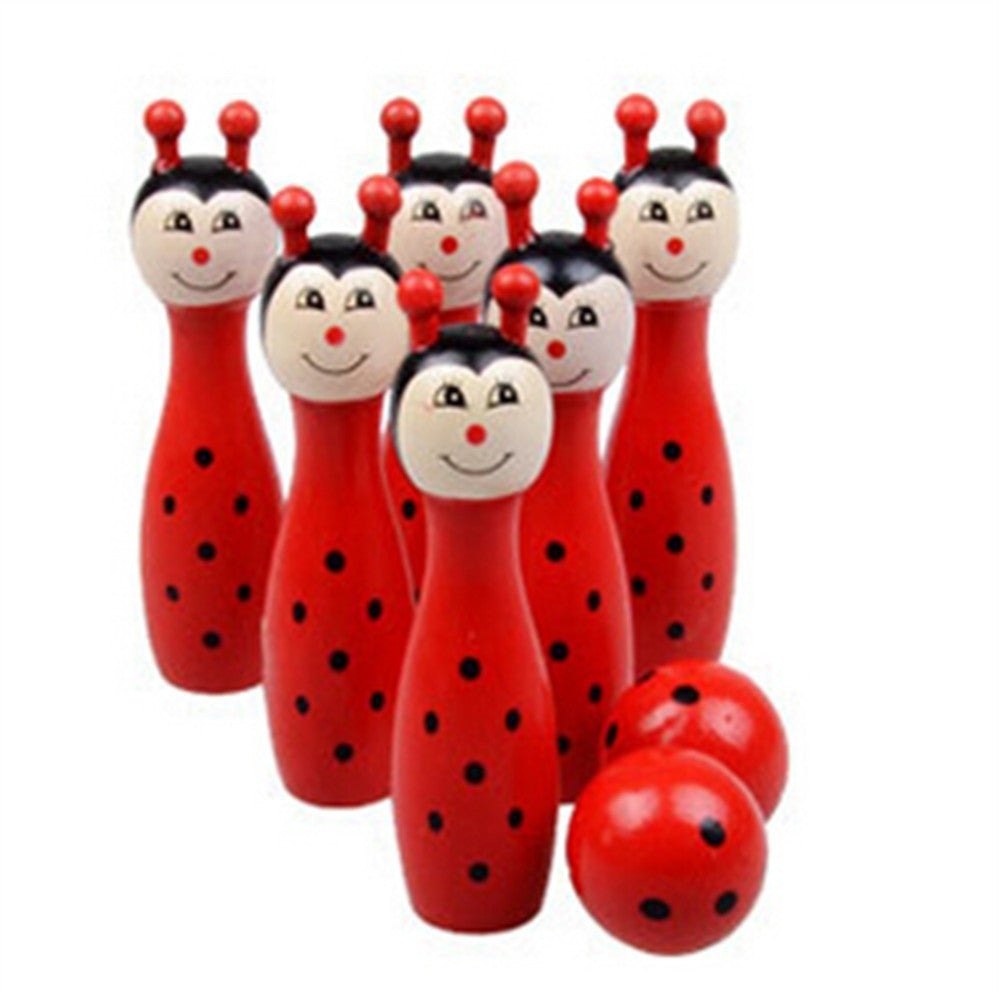 Wooden Animal Bowling Ball SET Game Baby Intellectual Toy Children 6 Pins 2 Ball   ants - Mega Save Wholesale & Retail - 1