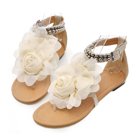 Flat Heel Flower Sandals Various Size Women Shoes  beige - Mega Save Wholesale & Retail - 1