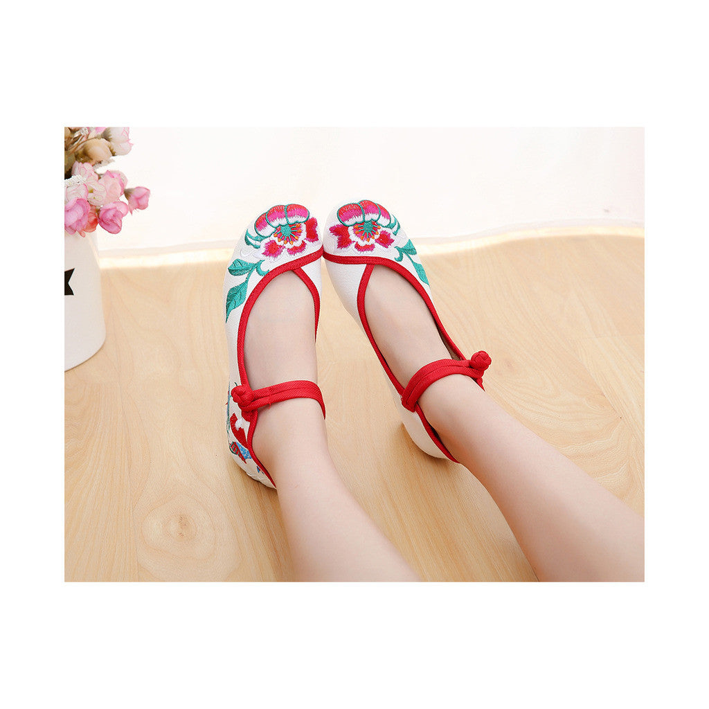 Spring Embroidered Shoes in High Heeled Vintage Old Beijing Style & White Shade with Red Ankle Straps - Mega Save Wholesale & Retail - 1