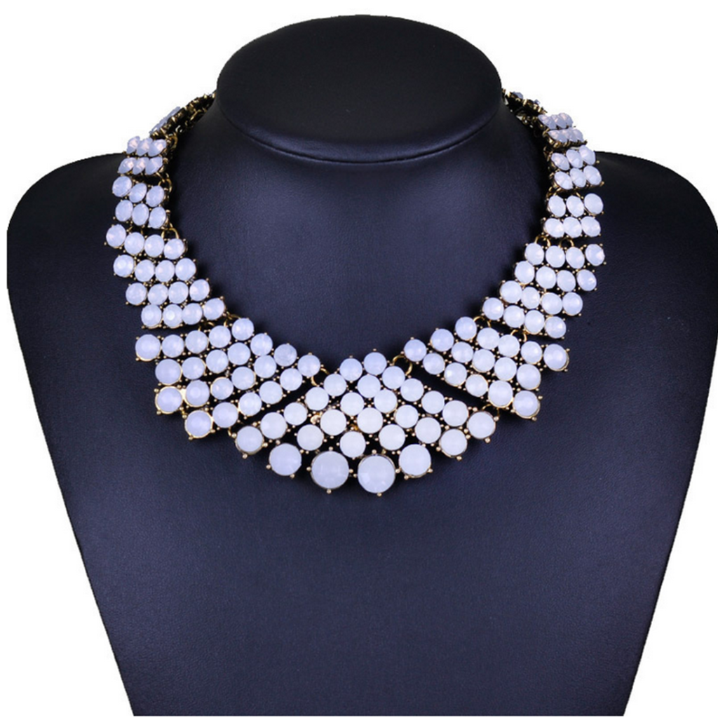 European Fashionable Multi-layer Zircon Garment Accessory Korean Short Necklace Exaggerated Crystal Clavicle Necklace Woman   white - Mega Save Wholesale & Retail
