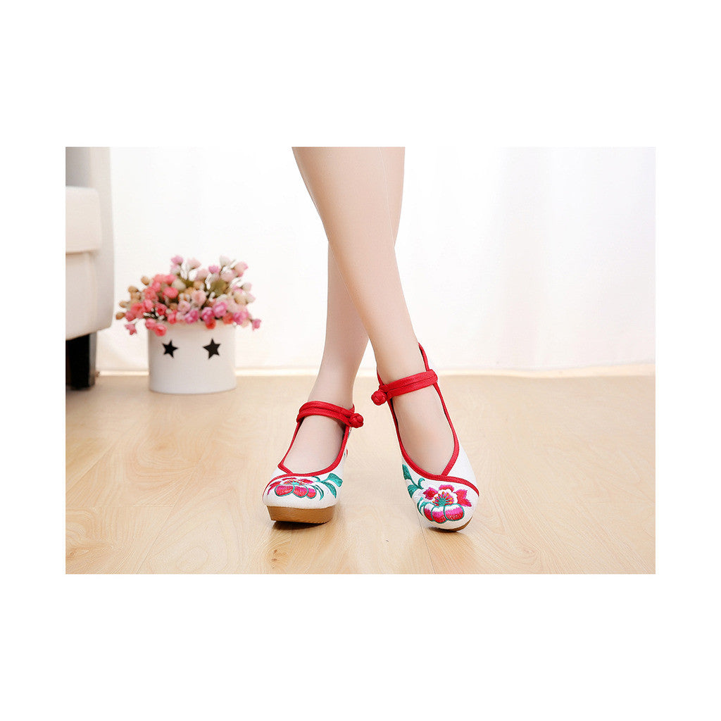 Spring Embroidered Shoes in High Heeled Vintage Old Beijing Style & White Shade with Red Ankle Straps - Mega Save Wholesale & Retail - 2