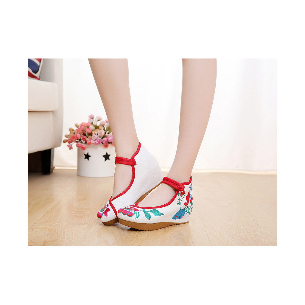 Spring Embroidered Shoes in High Heeled Vintage Old Beijing Style & White Shade with Red Ankle Straps - Mega Save Wholesale & Retail - 3