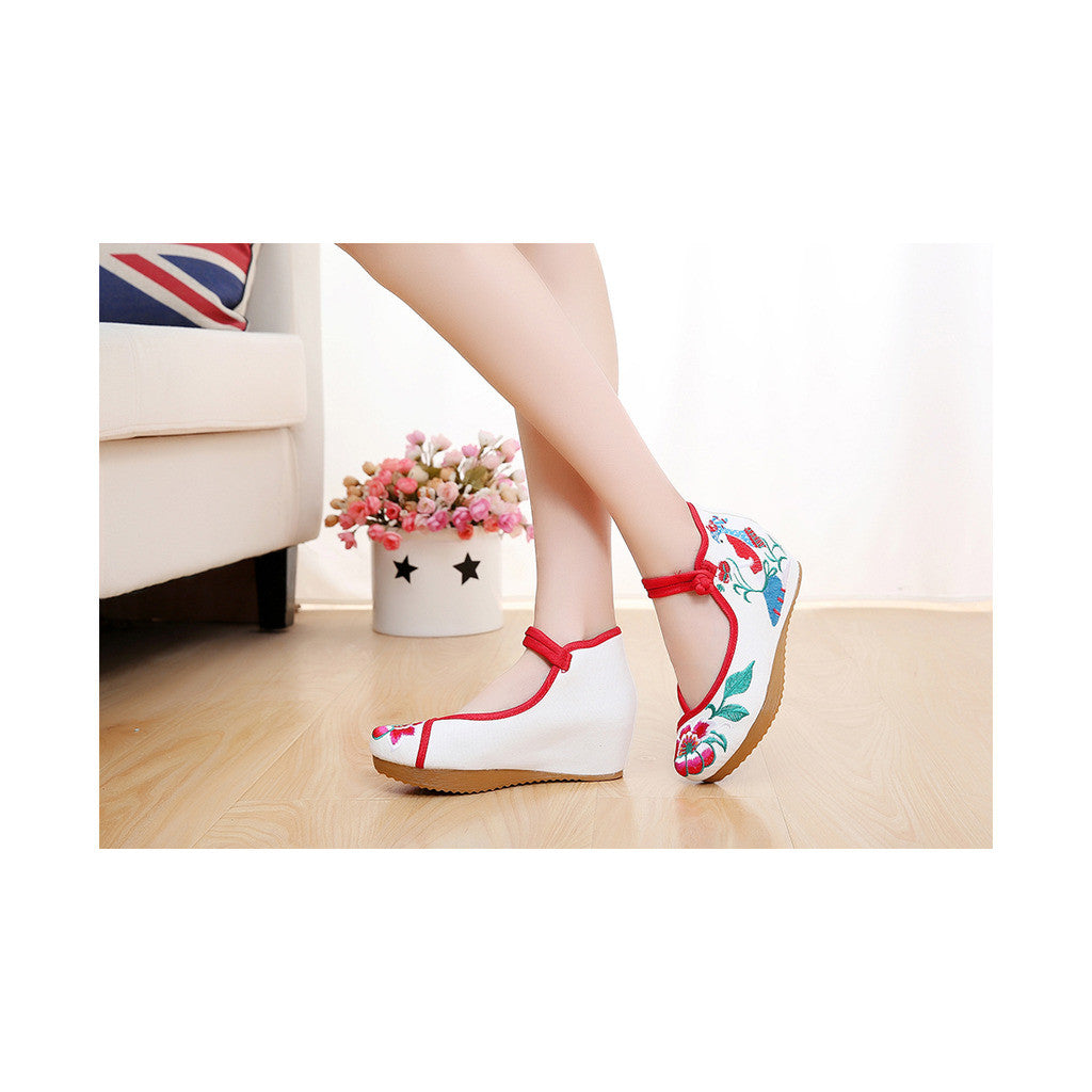 Spring Embroidered Shoes in High Heeled Vintage Old Beijing Style & White Shade with Red Ankle Straps - Mega Save Wholesale & Retail - 4