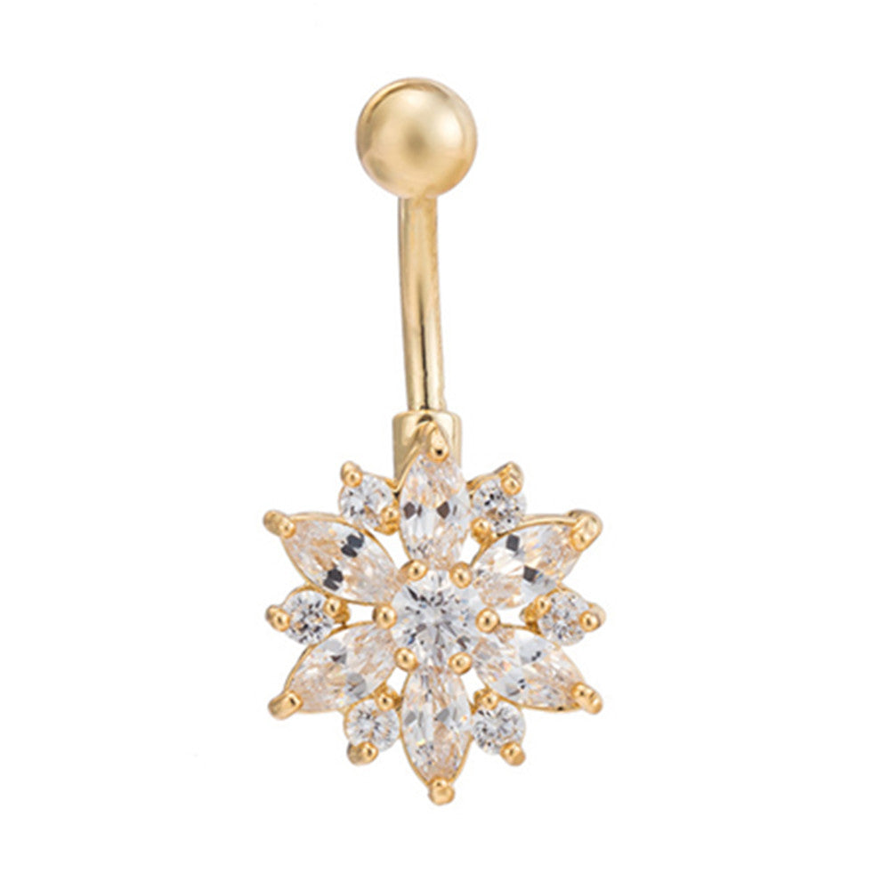 Puncture Ornament Chrysanthemum Zircon Navel Ring Buckle   gold plated white zircon - Mega Save Wholesale & Retail