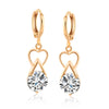 Luxurious Heart Zircon Earrings   gold plated white zircon - Mega Save Wholesale & Retail