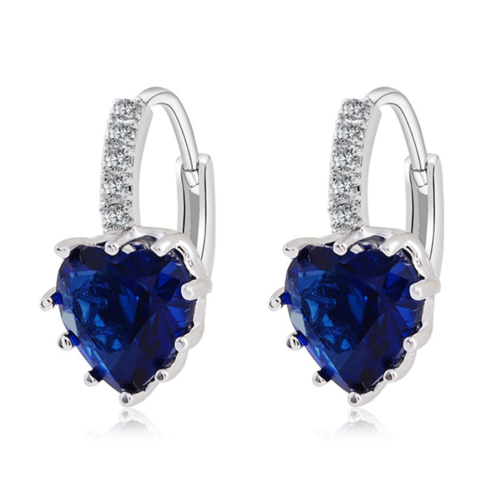 Peach Heart Zircon Earings   platinum plated dark blue zircon - Mega Save Wholesale & Retail