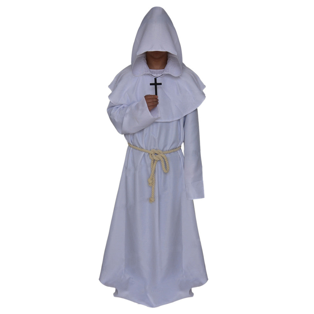 Halloween Cosplay Middle Ages Monk Wizard Christian white - Mega Save Wholesale & Retail - 1