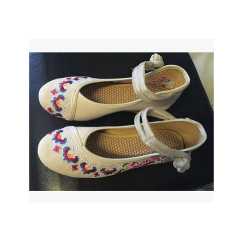 2016 Spring Embroidered Women Shoes Online in White Shade & Wonderful Ankle Straps & Flower Patterns - Mega Save Wholesale & Retail