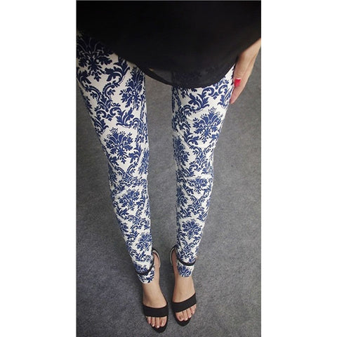Womens sexy leggings Stretchy fit skin pants trousers Chinese traditional ink Pattern White blue and white - Mega Save Wholesale & Retail