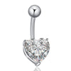 Love Heart Navel Buckle Ring Body Puncture Ornament Accessory Belly Dance   platinum plated white zircon - Mega Save Wholesale & Retail