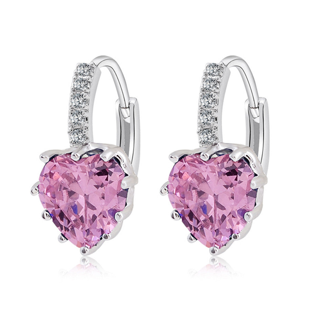 Peach Heart Zircon Earings   platinum plated pink zircon - Mega Save Wholesale & Retail