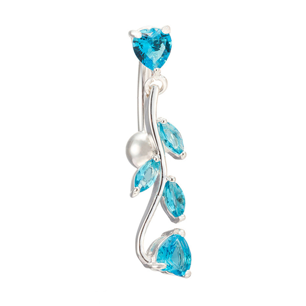 Body Puncture Ornament Leaf Navel Ring   platinum plated blue zircon - Mega Save Wholesale & Retail
