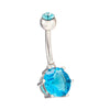 Multiple Colors Navel Ring Buckle   platinum plated blue zircon - Mega Save Wholesale & Retail