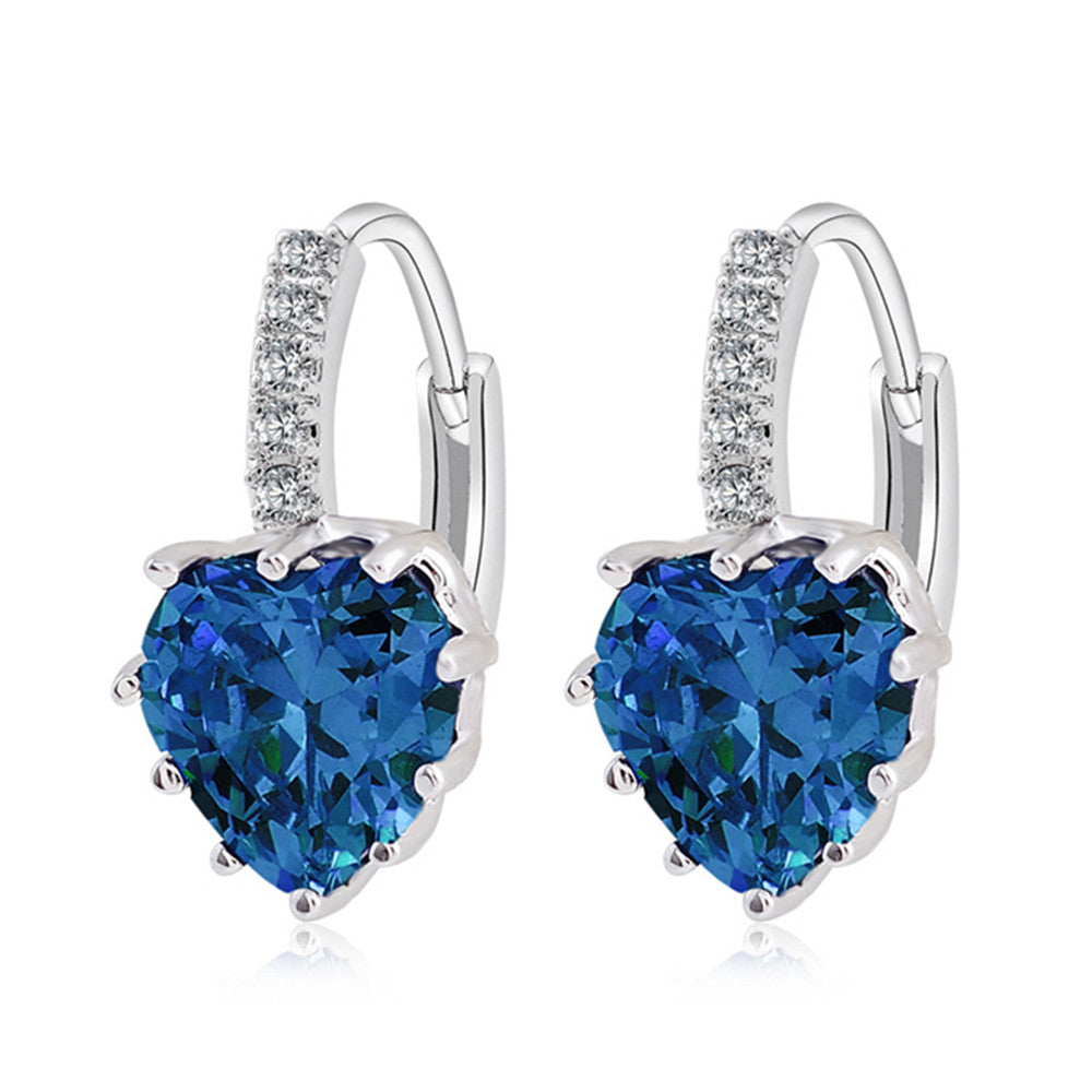 Peach Heart Zircon Earings   platinum plated blue zircon - Mega Save Wholesale & Retail
