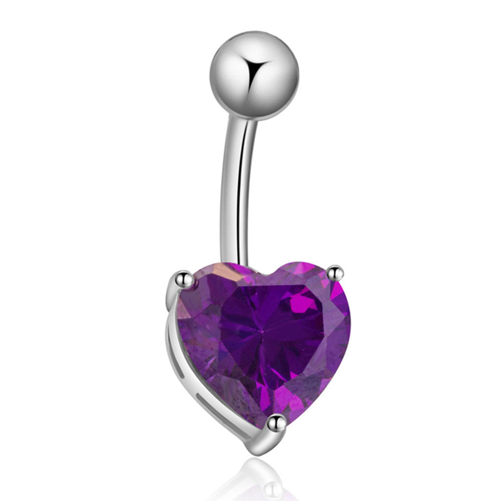 Love Heart Navel Buckle Ring Body Puncture Ornament Accessory Belly Dance   platinum plated purple zircon - Mega Save Wholesale & Retail
