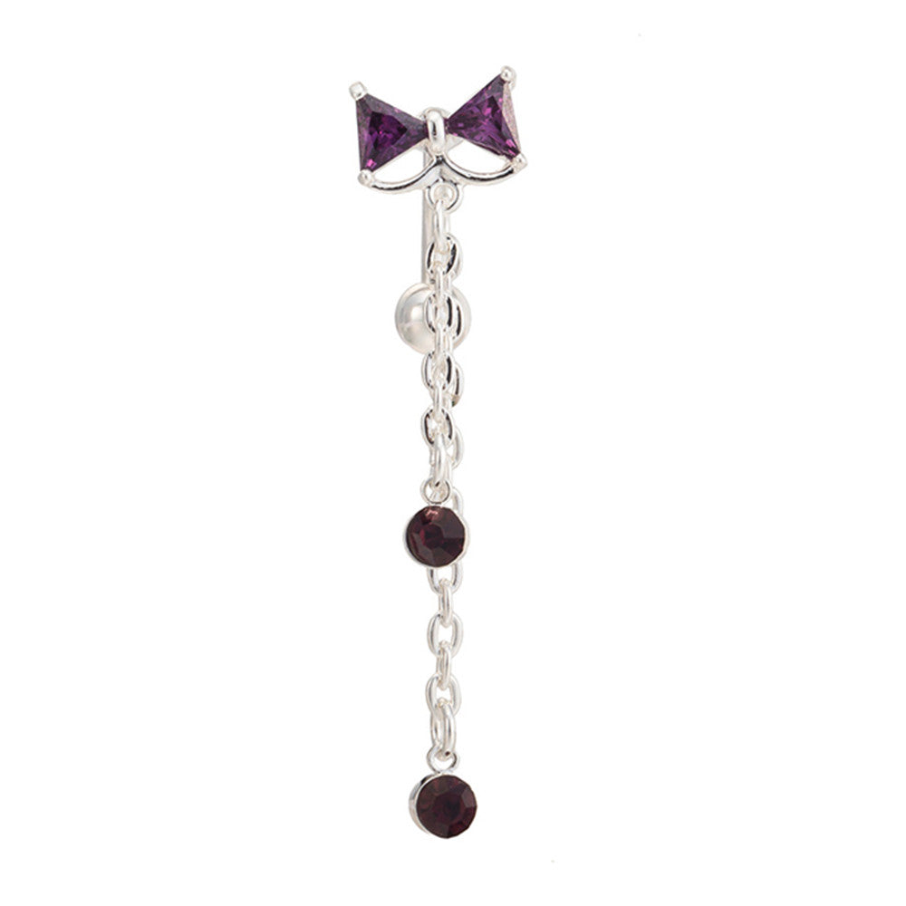 Bowknot Navel Ring Buckle Body Puncture   platinum plated purple zircon - Mega Save Wholesale & Retail