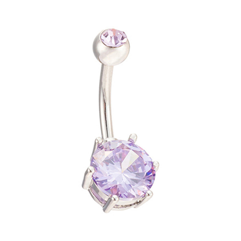 Multiple Colors Navel Ring Buckle   platinum plated purple zircon - Mega Save Wholesale & Retail