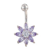 Puncture Ornament Flower Zircon Navel Ring Buckle   platinum plated purple zircon - Mega Save Wholesale & Retail