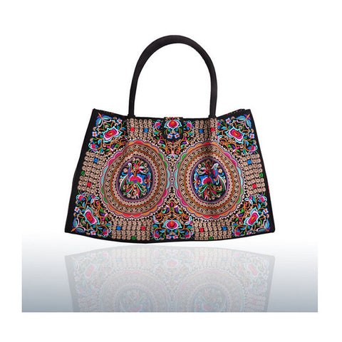 Bohemian Woman's Bag National Style Embroidery Single-shoulder Bag Embroidery Handbag Big Bag Factory(Big Szie)   silver and white zamioculcas zamiifolia - Mega Save Wholesale & Retail - 1