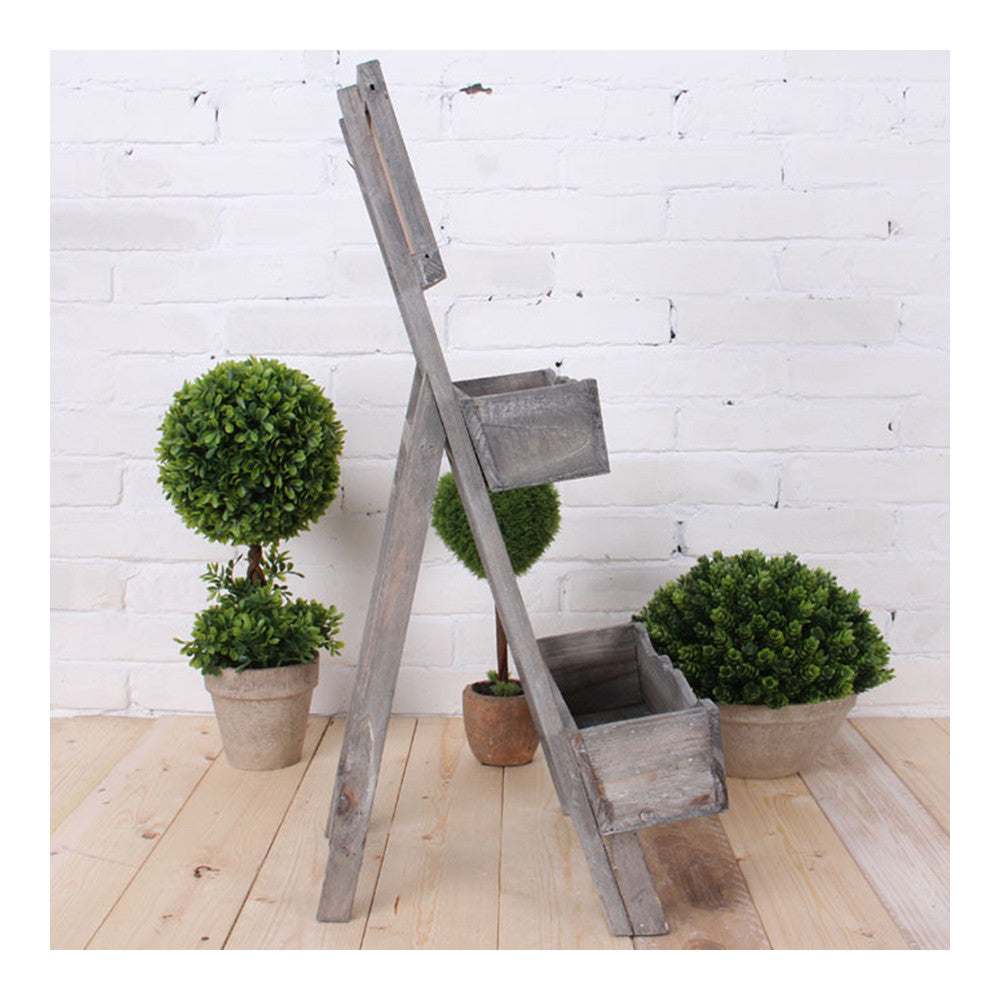 Double-layer Storage Rack Blackboard Flower Stand Wood    white - Mega Save Wholesale & Retail - 4