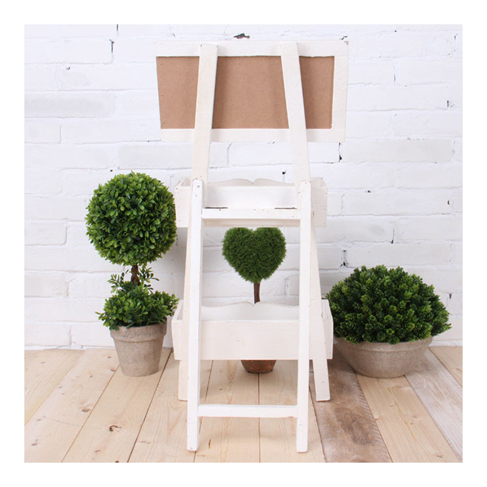 Double-layer Storage Rack Blackboard Flower Stand Wood    white - Mega Save Wholesale & Retail - 5