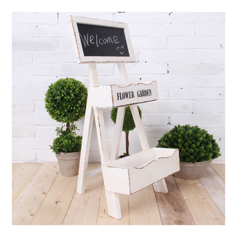 Double-layer Storage Rack Blackboard Flower Stand Wood    white - Mega Save Wholesale & Retail - 1