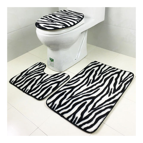 Carpet 3pcs Set Toilet Seat Anti-skidding Ground Mat black zebra print - Mega Save Wholesale & Retail