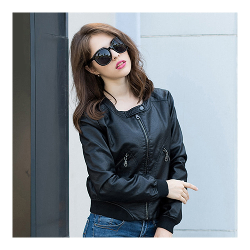 Woman Faux Leather Coat Round Collar Fashionable   S - Mega Save Wholesale & Retail - 1
