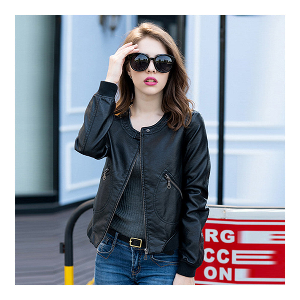 Woman Faux Leather Coat Round Collar Fashionable   S - Mega Save Wholesale & Retail - 2
