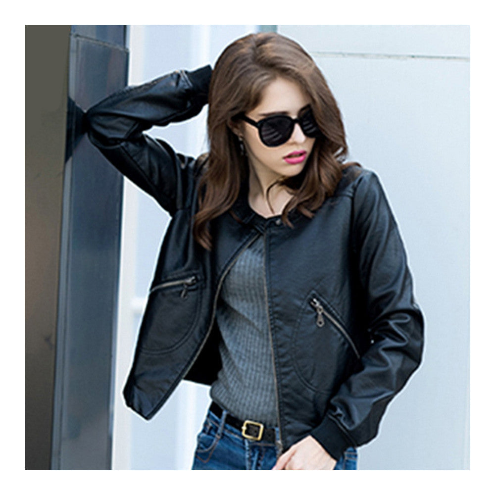 Woman Faux Leather Coat Round Collar Fashionable   S - Mega Save Wholesale & Retail - 3