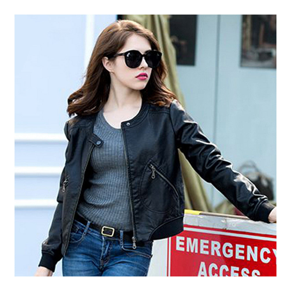 Woman Faux Leather Coat Round Collar Fashionable   S - Mega Save Wholesale & Retail - 4