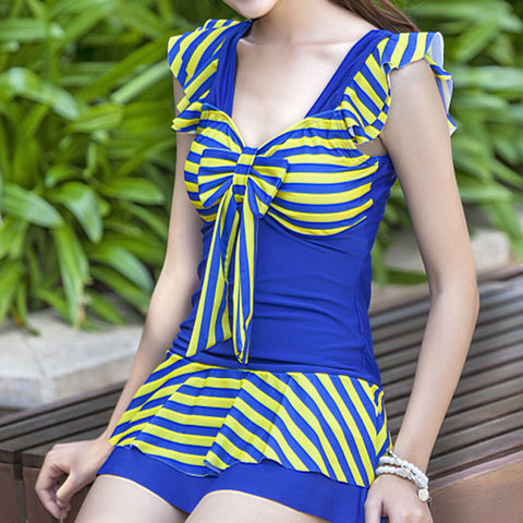 Back Hollow Siamesed Student Peplum Hotspring Swimwear Swimsuit  noble blue - Mega Save Wholesale & Retail - 1