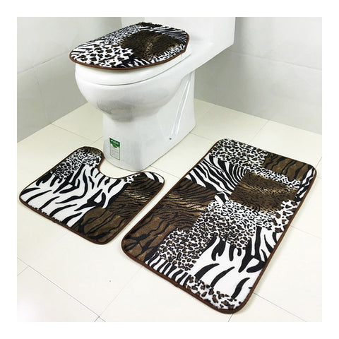 Carpet 3pcs Set Toilet Seat Anti-skidding Ground Mat brown leopard print - Mega Save Wholesale & Retail