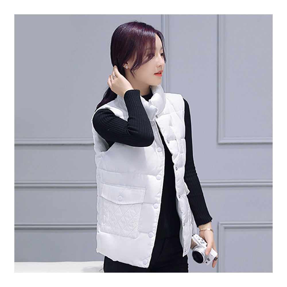 Winter Waistcoat Vest Thick Down Coat Woman Short   white   M - Mega Save Wholesale & Retail - 1