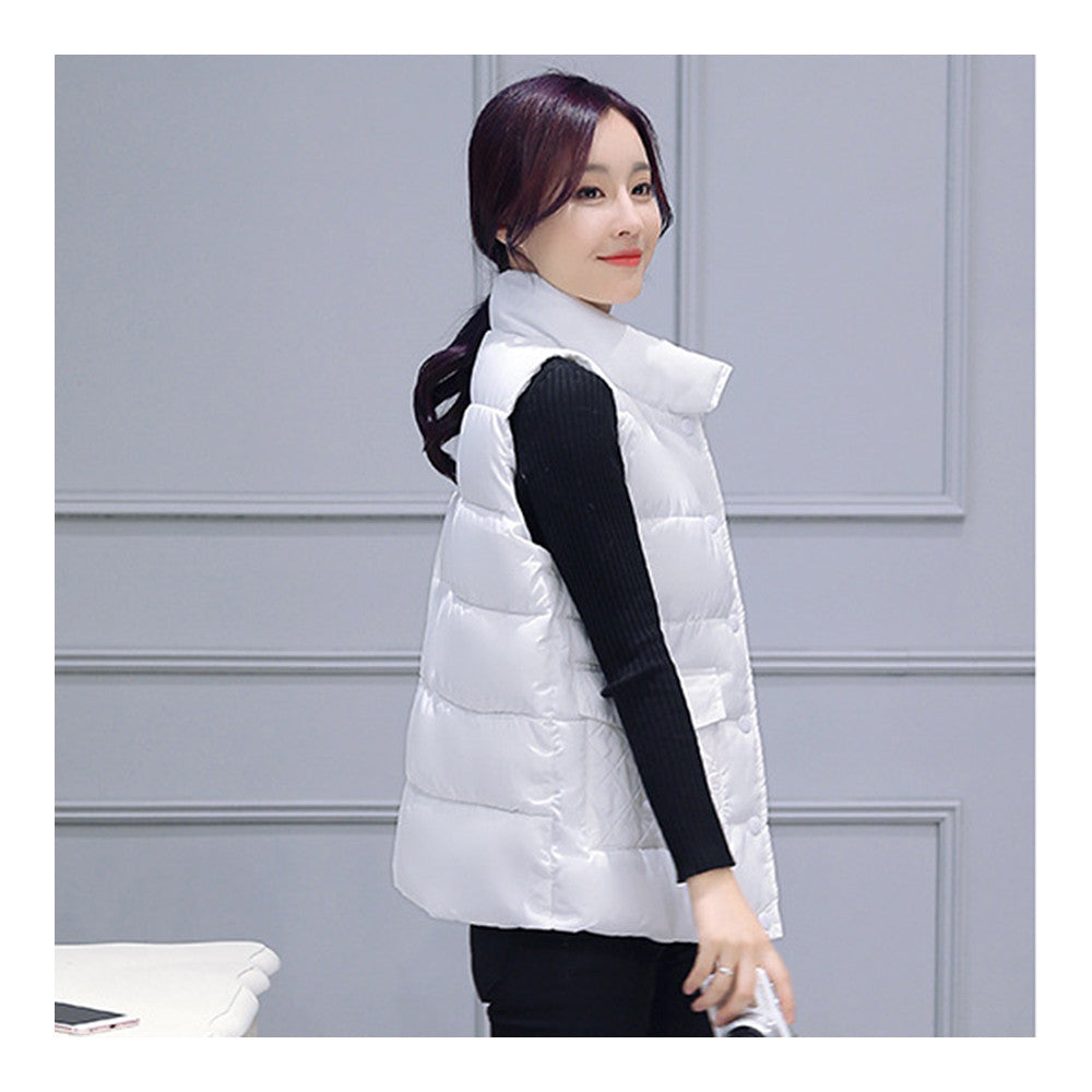 Winter Waistcoat Vest Thick Down Coat Woman Short   white   M - Mega Save Wholesale & Retail - 2