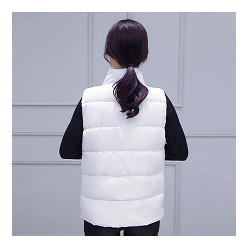 Winter Waistcoat Vest Thick Down Coat Woman Short   white   M - Mega Save Wholesale & Retail - 3