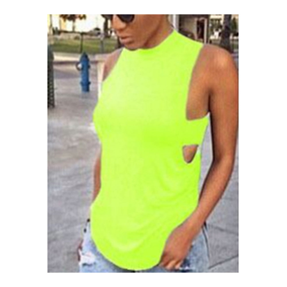Sexy Choker High Neck Sleeveless T-shirt   fluorescent green    S - Mega Save Wholesale & Retail