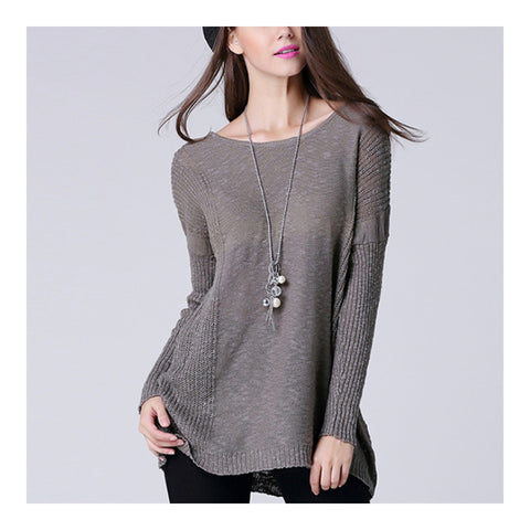 Batwing Knitwear Thin Loose Pullover Sweater   grey - Mega Save Wholesale & Retail - 1