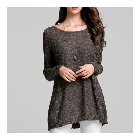 Batwing Knitwear Thin Loose Pullover Sweater   dark floral - Mega Save Wholesale & Retail - 1
