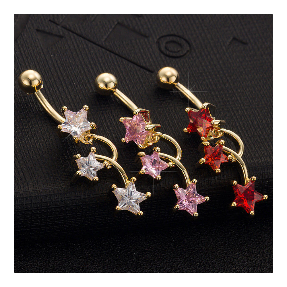 Star Navel Nail Body Puncture Navel Buckle Ornament    gold plated white zircon - Mega Save Wholesale & Retail - 4