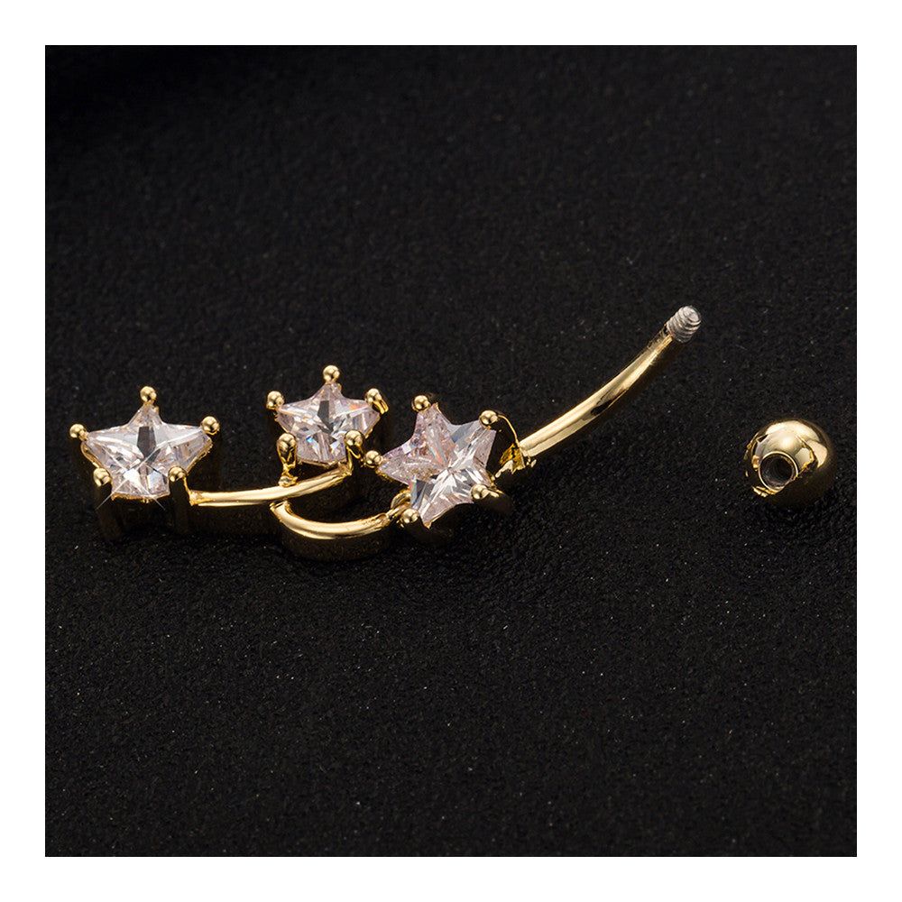 Star Navel Nail Body Puncture Navel Buckle Ornament    gold plated white zircon - Mega Save Wholesale & Retail - 2