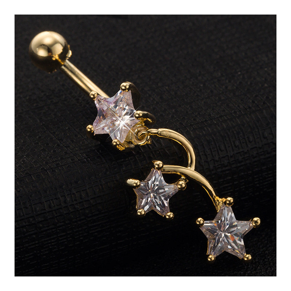 Star Navel Nail Body Puncture Navel Buckle Ornament    gold plated white zircon - Mega Save Wholesale & Retail - 3