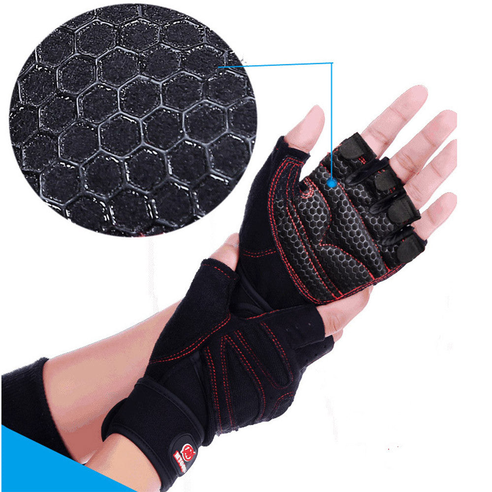 Weight Lifting Gym Gloves Training Fitness Antislip Wareproof Wrist Wrap Workout Exercise Gaming 3 Color In Pair Black M - Mega Save Wholesale & Retail